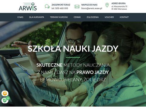 Arwis.waw.pl nauka jazdy Warszawa